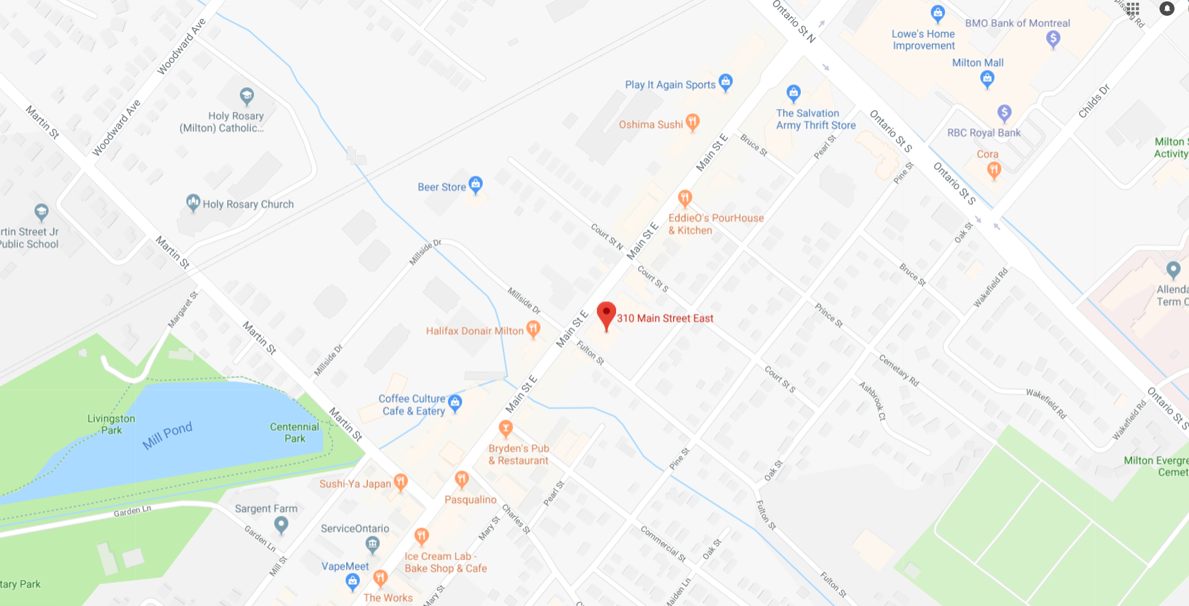 map of Milton CCAC Clinic