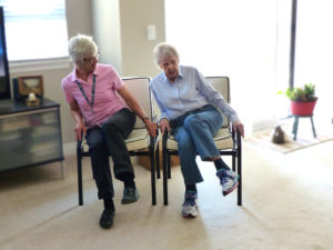 Photo of Home Support Exercise Program client Mary with her volunteer Freda.