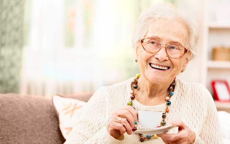 Older woman with tea