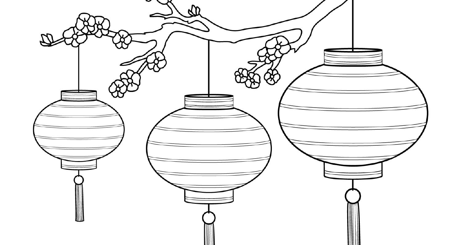 Colouring- Chinese Lanterns